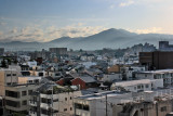 Kyoto and surrounding mountains as seen from our hotel room at the ANA Crowne Plaza