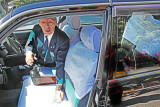 We took this taxi to the Heian-jingu Shrine in Kyoto - driver was in a suit and lace was on the seats - just like the U.S. :-)