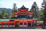 Soryu-ro Tower at the Heian-jingu Shrine with the Higashiyama Mountains in the background in Kyoto