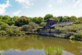 Roofed bridge (Taihei-kaku) over a pond at the garden of the Heian-jingu Shrine in Kyoto
