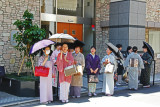 Women formally dressed in kimonos were out on the town in the Gion (Geisha/Geiko) District in Kyoto