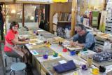 Sharon and John each pattern-dyeing a bag at a Kyo-yuzen Workshop at Marumasu-Nishimuraya in Kyoto