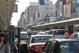 Heavy mid-day traffic on Kawaramachi-dori in downtown Kyoto - not one car horn sounded
