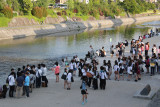 Young people at the Kamo River - early Friday evening - a few blocks from the center of downtown Kyoto