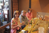 Judy, Sharon and John having dinner in a restaurant on Pontocho Alley near the Kamo River in Kyoto