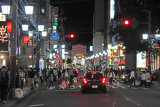 Lots of young people out on a Friday night -  between Kawaramachi Street and the Kamo River in downtown Kyoto