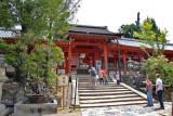 Outside the main structures of Kasuga Taisha (a Shinto shrine) in Nara Park in Nara