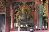 Statue of Kokuuzo bosatsu (at least 30 feet tall) in the Main Hall of Todai-ji Temple in Nara Park in Nara