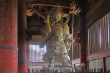 Statue of Tamonten (at least 30 feet tall) in the Main Hall of Todai-ji Temple in Nara Park in Nara