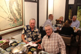 Hal and Paul at Ganko Takasegawa Nijoen (restaurant) in Kyoto