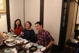 Sarah, Norma and Logan at Ganko Takasegawa Nijoen (restaurant) in Kyoto