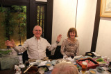 John and Sallie at Ganko Takasegawa Nijoen (restaurant) in Kyoto