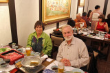 Jane and Michael at Ganko Takasegawa Nijoen (restaurant) in Kyoto