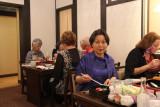 Keiko (guide) at Ganko Takasegawa Nijoen (restaurant) in Kyoto