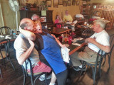 Jacqueline (very friendly with Ken :-)) with Jerry and Elliott in Chez Jacqueline's in Breaux Bridge in southwestern Louisiana