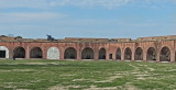 The outer veranda with canons and the upper perimeter with canons at Fort Pulaski on Cockspur Island, Georgia