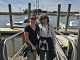 Judy and Aaren getting ready to board the boat for Captain Mike's Dolphin Excursion - Tybee Island
