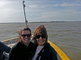 Judy and Aaren on the boat for Captain Mike's Dolphin Excursion - Tybee Island