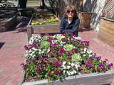 Judy near flower boxes at the Coastal Georgia Botanical Gardens - Savannah
