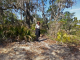 Judy on a trail to a sea water marsh - part of our private, guided tour of the marsh - Tybee Island