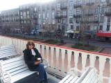 Judy on a sightseeing boat on the Savannah River next to River Street - Savannah