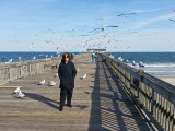 Judy and seagulls on the fishing pier - East Coast of Tybee Island