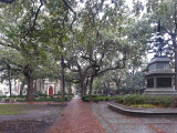 Madison Square and William Jasper's statue - Savannah. St. Johns Episcopal Church (built in the 1850's) is in the background.