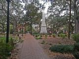Monterey Square and statue honoring General Casimir Pulaski - Savannah, Georgia