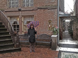 Judy in front of the entrance (right side) to Mrs. Wilkes' Dining Room - Savannah