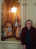 Richard next to the Holy Ark (where Torah scrolls are kept) in Temple Mickve Israel (founded 1790) in Savannah