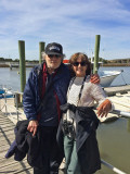 Judy and Richard getting ready to board the boat for Captain Mike's Dolphin Excursion - Tybee Island
