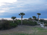 A wooden walkway leading to the beach on the North Coast of Tybee Island
