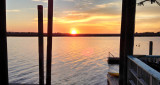 Sunset from the pier behind Coco's Sunset Grille after having dinner at Coco's - Tybee Island