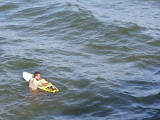 A surfer without a wetsuit (in mid-February) as seen from the fishing pier on the East Coast of Tybee Island