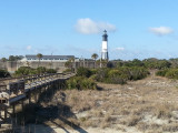 The Tybee Lighthouse and a walkway to the beach on the North Coast of Tybee Island