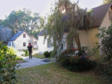 Judy among slave cabins (from the late 1700s) in the Gascoigne Bluff section of the Hamilton Plantation - St. Simons Island