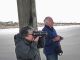 John and Elliott - two pros at work - under the fishing pier - East Coast of Tybee Island