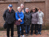 Left to right: Richard, Nancy, David, John, Judy and Sharon - waiting in line to enter Mrs. Wilkes' Dining Room - Savannah