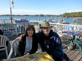 Judy and Richard in the open area of A-J's Dockside Restaurant overlooking the Savannah River (its Back River) - Tybee Island
