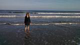 Judy testing the waters - East Coast of Tybee Island