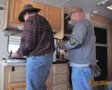 Lunch in Schaeffer's trailer