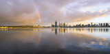 Sunrise Rainbow Over Perth and the Swan River, 12th October 2013
