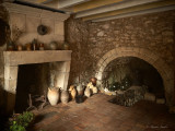...by the fireplace...