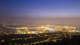 foggy dawn over Budapest