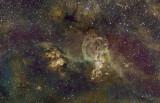 NGC 3576 (The Statue of Liberty Nebula), NGC 3603, NGC 3590 HaOHS
