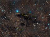 The Woolly Mammoth Nebula - LDN 673, 676A, 676B, 677, B77 / Annotated
