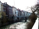 The Ljubljanica River running through the Old Town section of the city