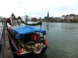A Christmas boat on the Main river in Frankfurt