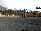 The structure in the center of the trees was made from the foundations of houses destroyed in the Jewish ghetto of Frankfurt