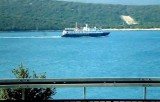 Our ship heading north while we head north by bus to Opatija